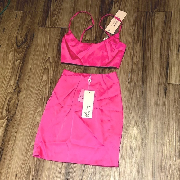 SATIN OH POLLY HOT PINK 2 PIECE